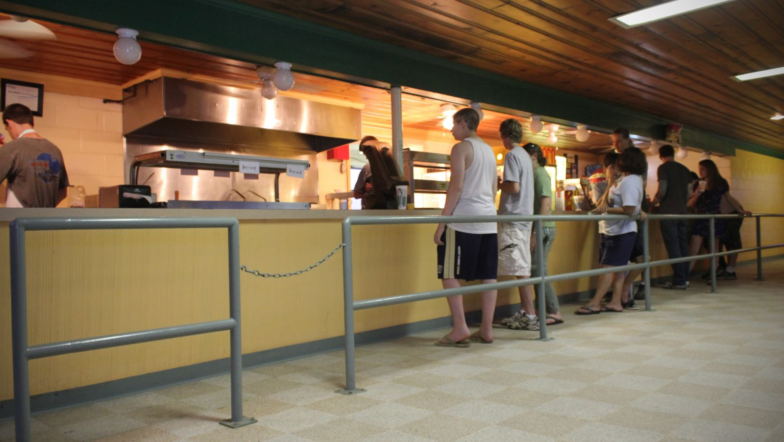 People wait in line at the concession stand at Cumberland Drive-In Theatre in Newville